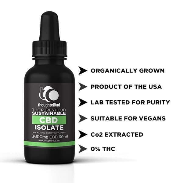 Organic Isolate CBD (3000 mg) in coconut oil. *Volume discount